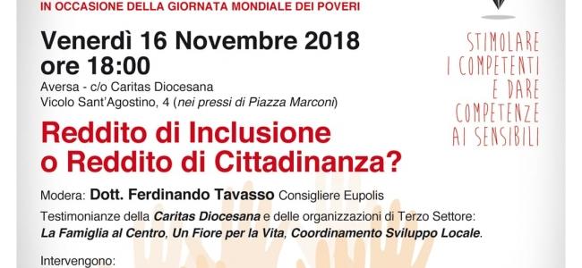 Venerdì 16 novembre 2018 - Reddito di Inclusione o Reddito di Cittadinanza?